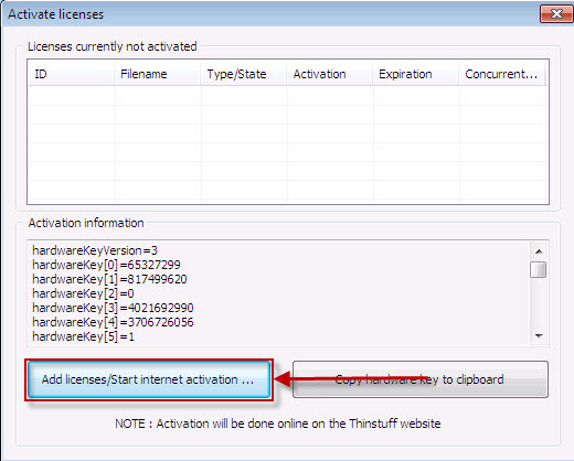 Thinstuff FAQ's | Support Topics - Activate XP/VS Server License