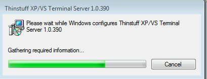 Thinstuff xp/vs terminal server