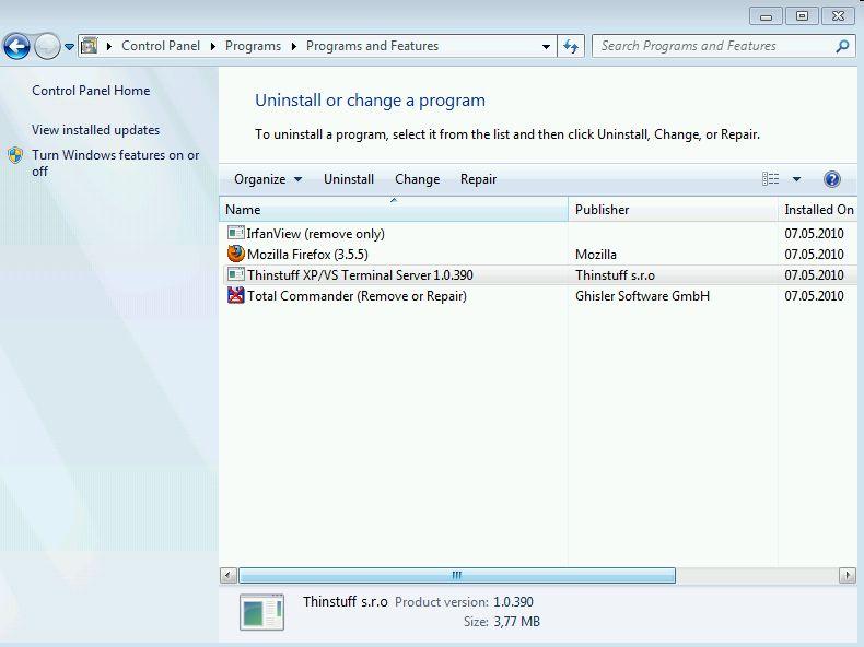 Thinstuff FAQ's | Support Topics - Uninstall XP/VS Server
